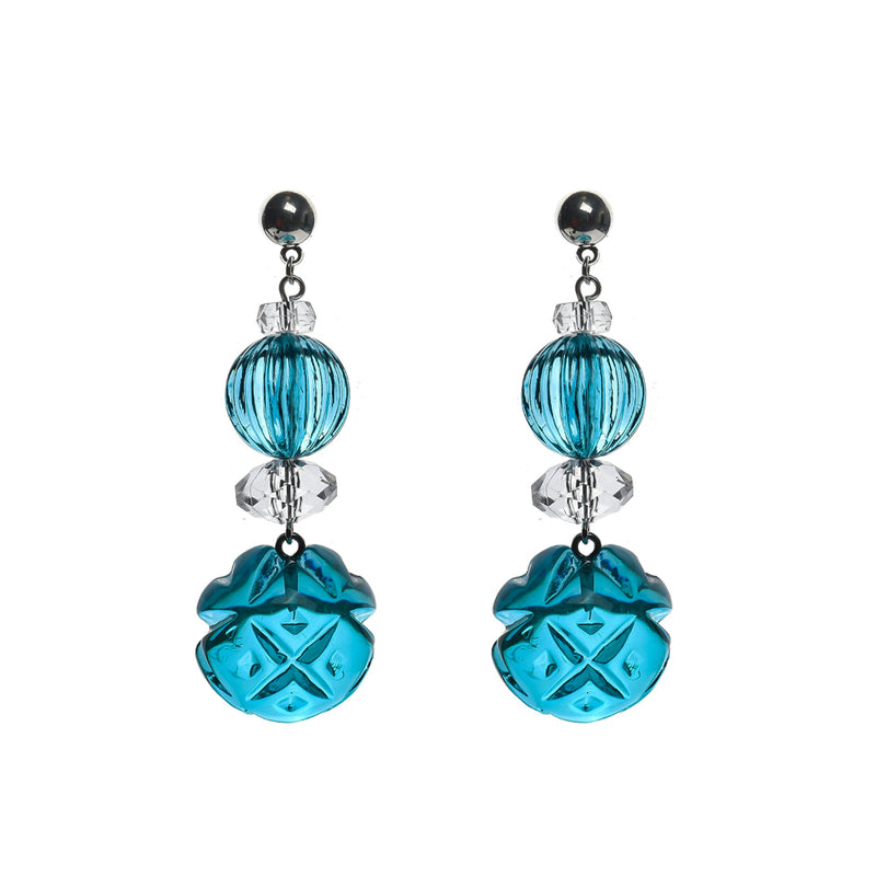 Multi Shape Stud Earrings Aqua & Clear