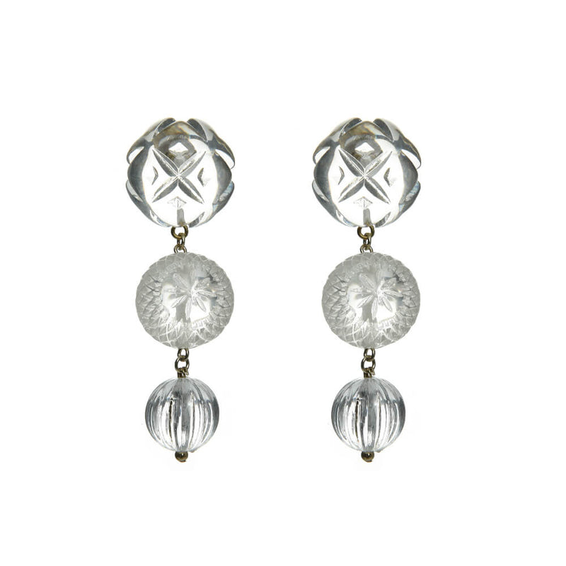 Triple Ball Etched Stud Earrings Vintage Clear