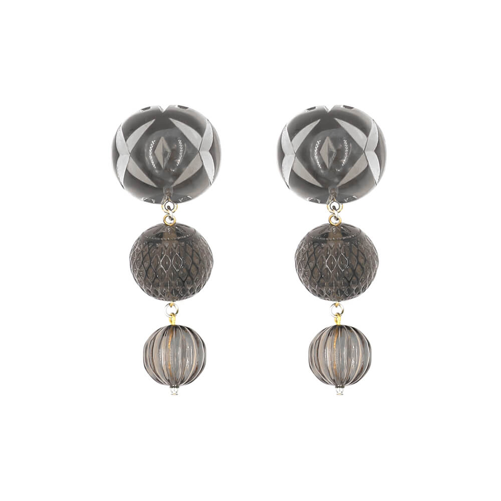 NEW IN     Triple Ball Etched Stud Earrings Dark Grey