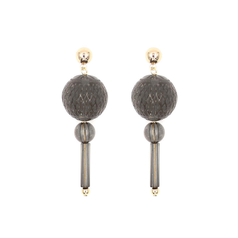 Frosted Ball Stud Earrings Dark Grey