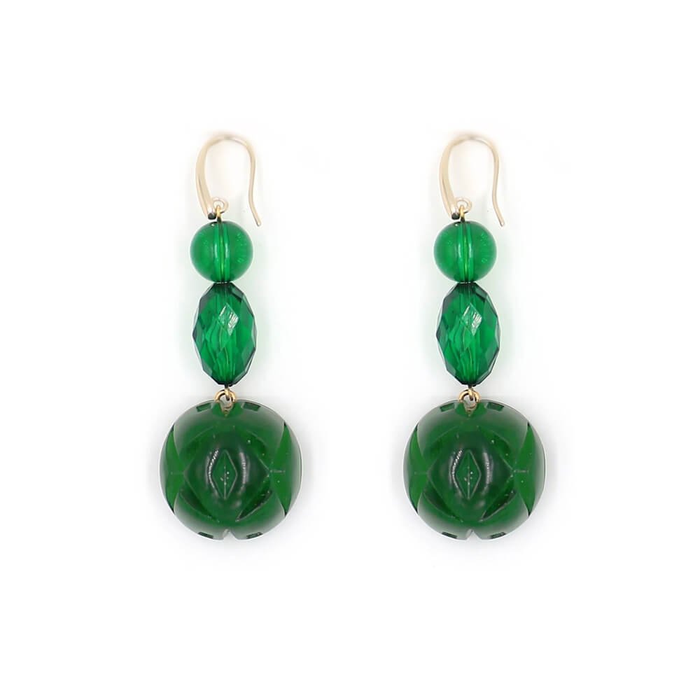 Etched Ball Hook Earrings Emerald Green