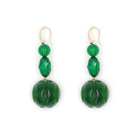 PRE-ORDER    Emerald Green Etched Ball Hook Earrings
