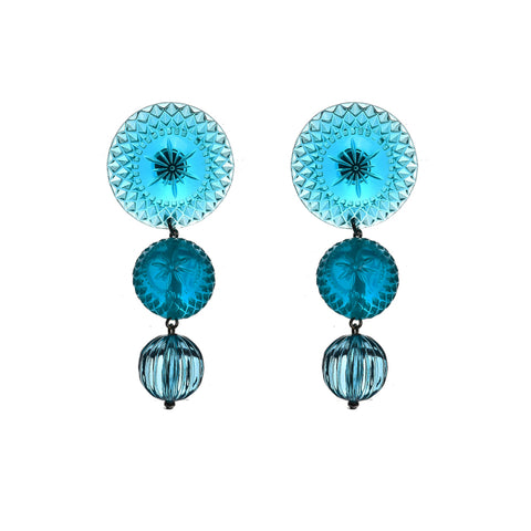 NEW IN Multi Disc Stud Earrings Aqua