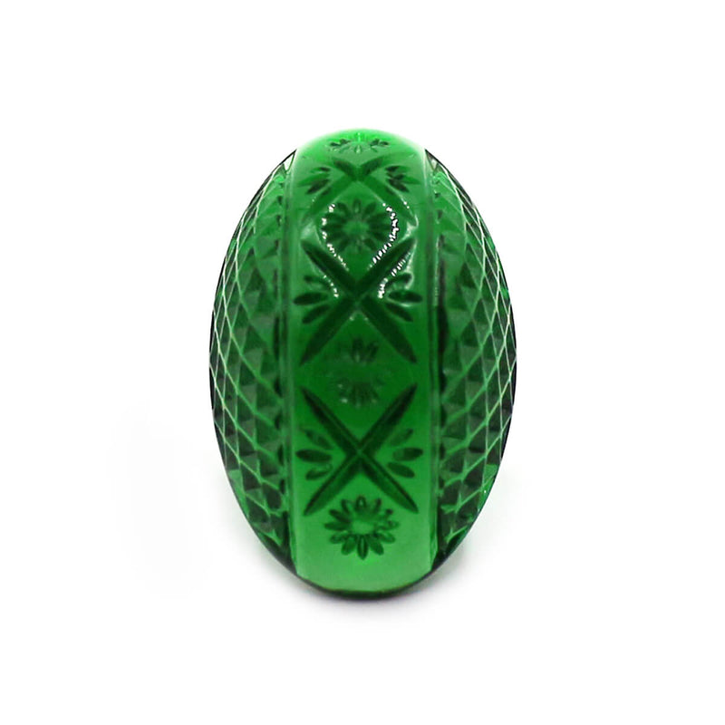 Etched Oval Ring Emerald Green