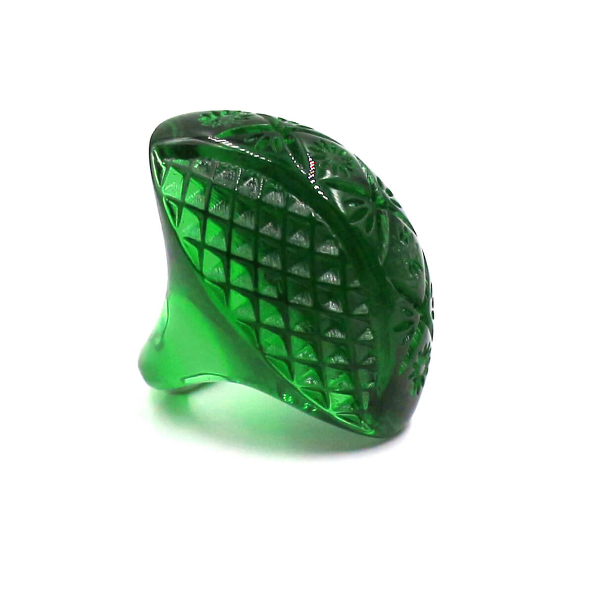 douglaspoon hand carved and polished resin ring in emerald green