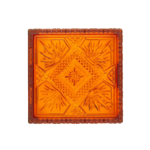 SAMPLE SALE Hand Carved Box Clutch Amber