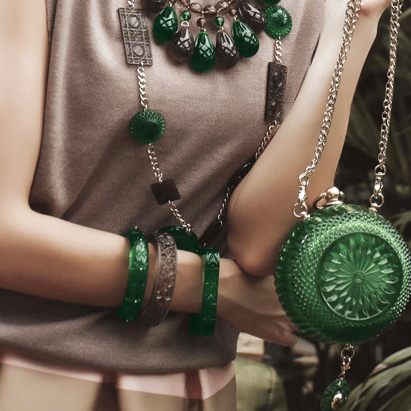 Studded Crystal Bangle Emerald Green