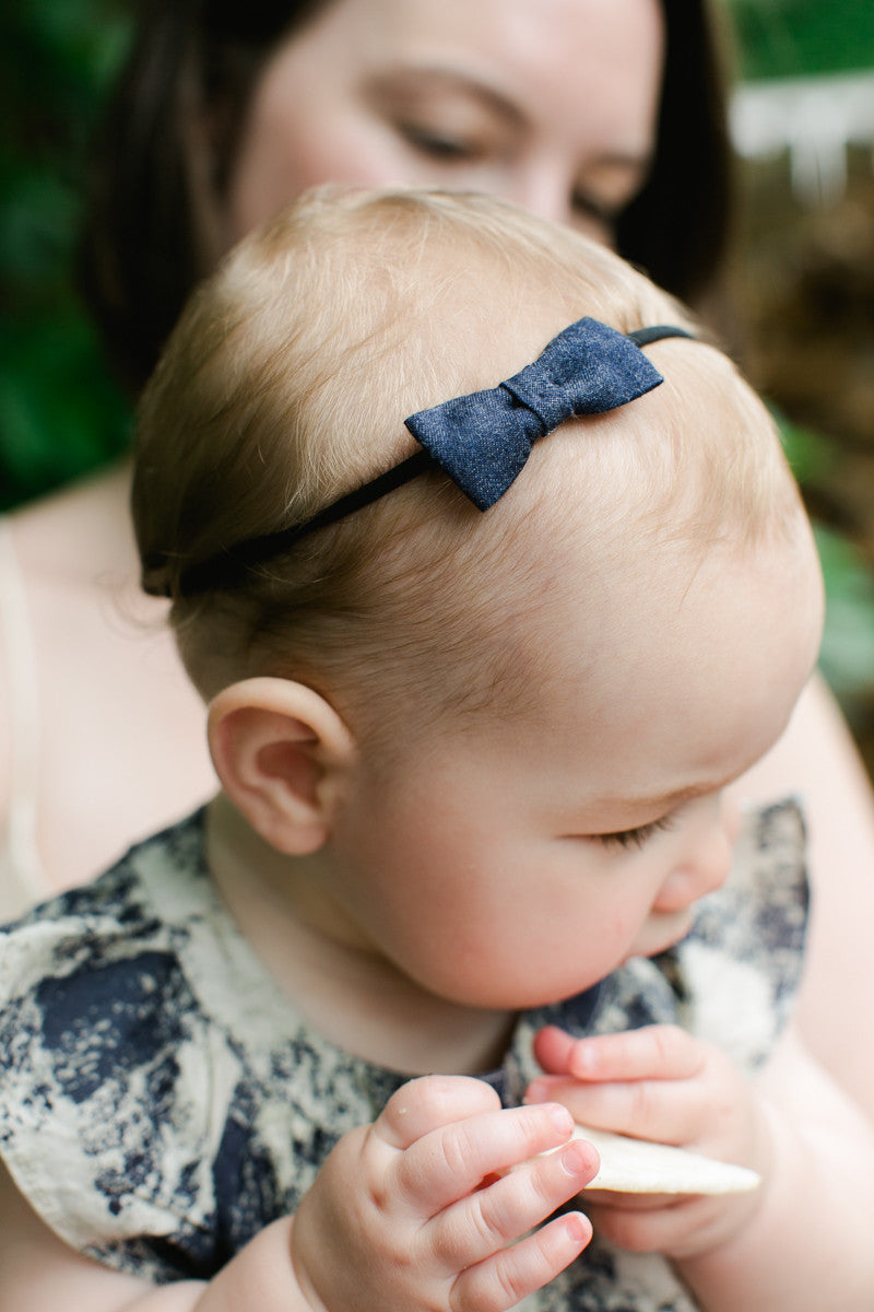 Blue Stripe Baby Bow Headband