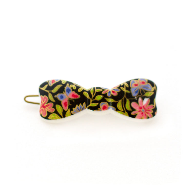 Vintage Bow Shaped Hair Clip - Liberty Style Floral Print - 1960s Made in France