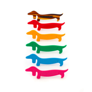 dachshund dog pin - red pink tortoise green yellow blue - brooch