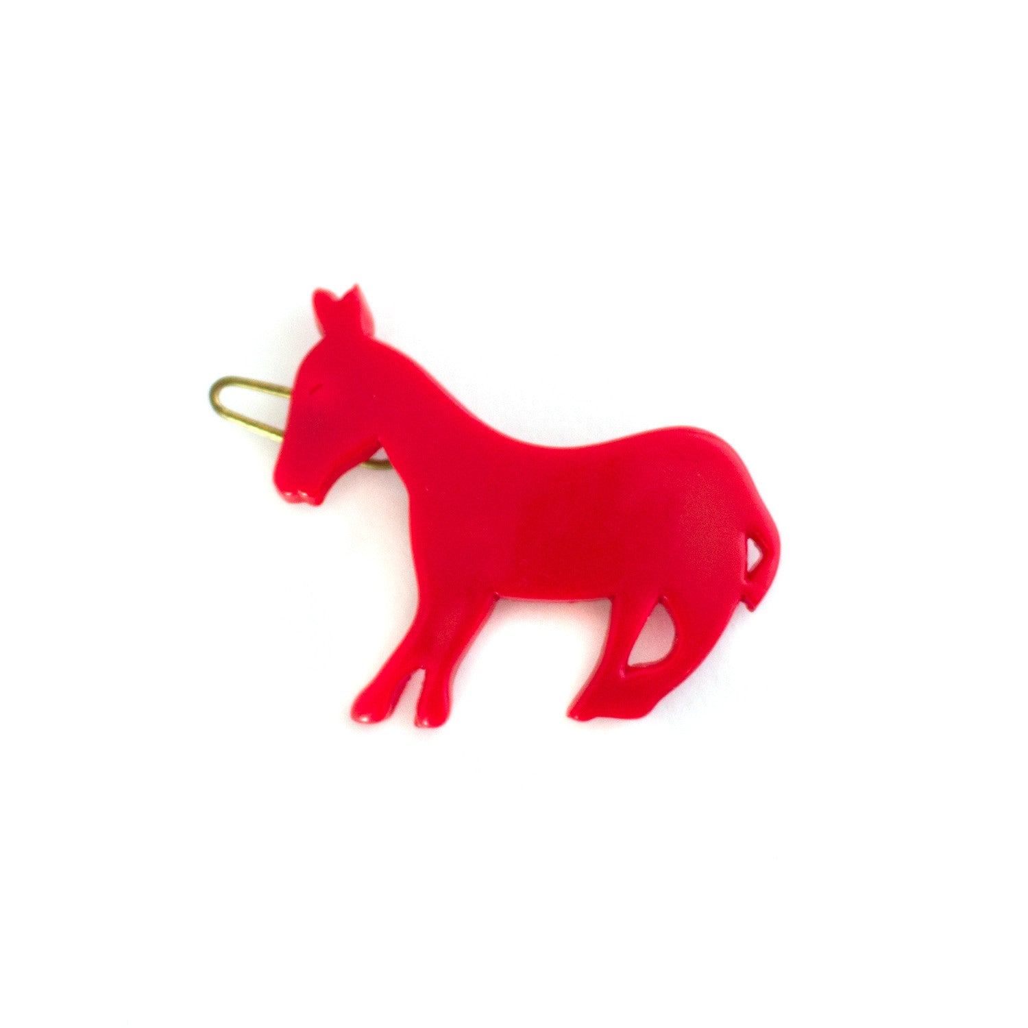 red donkey shaped hair clip - vintage made in france