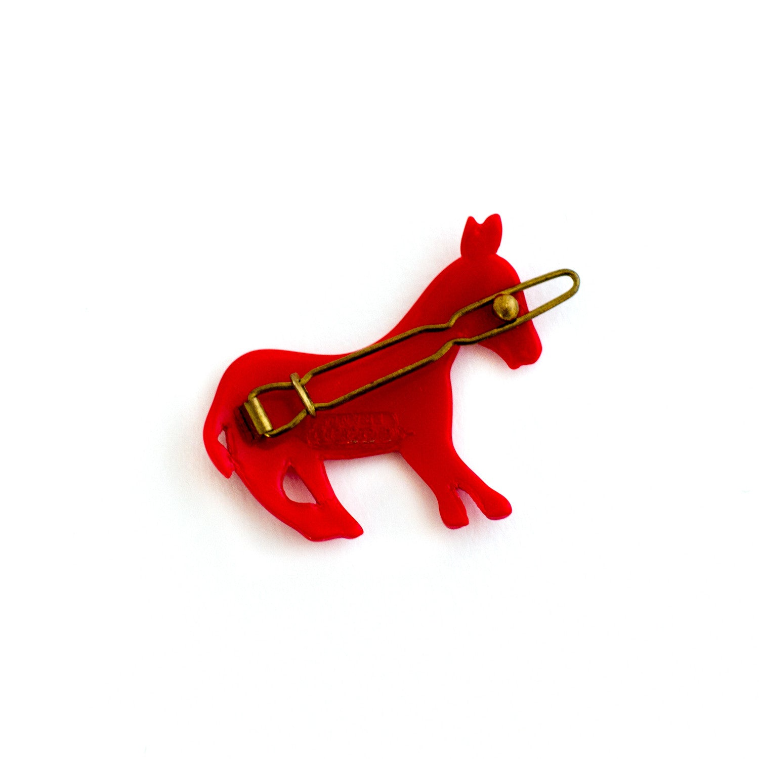 brass back - red donkey shaped hair clip - vintage made in france