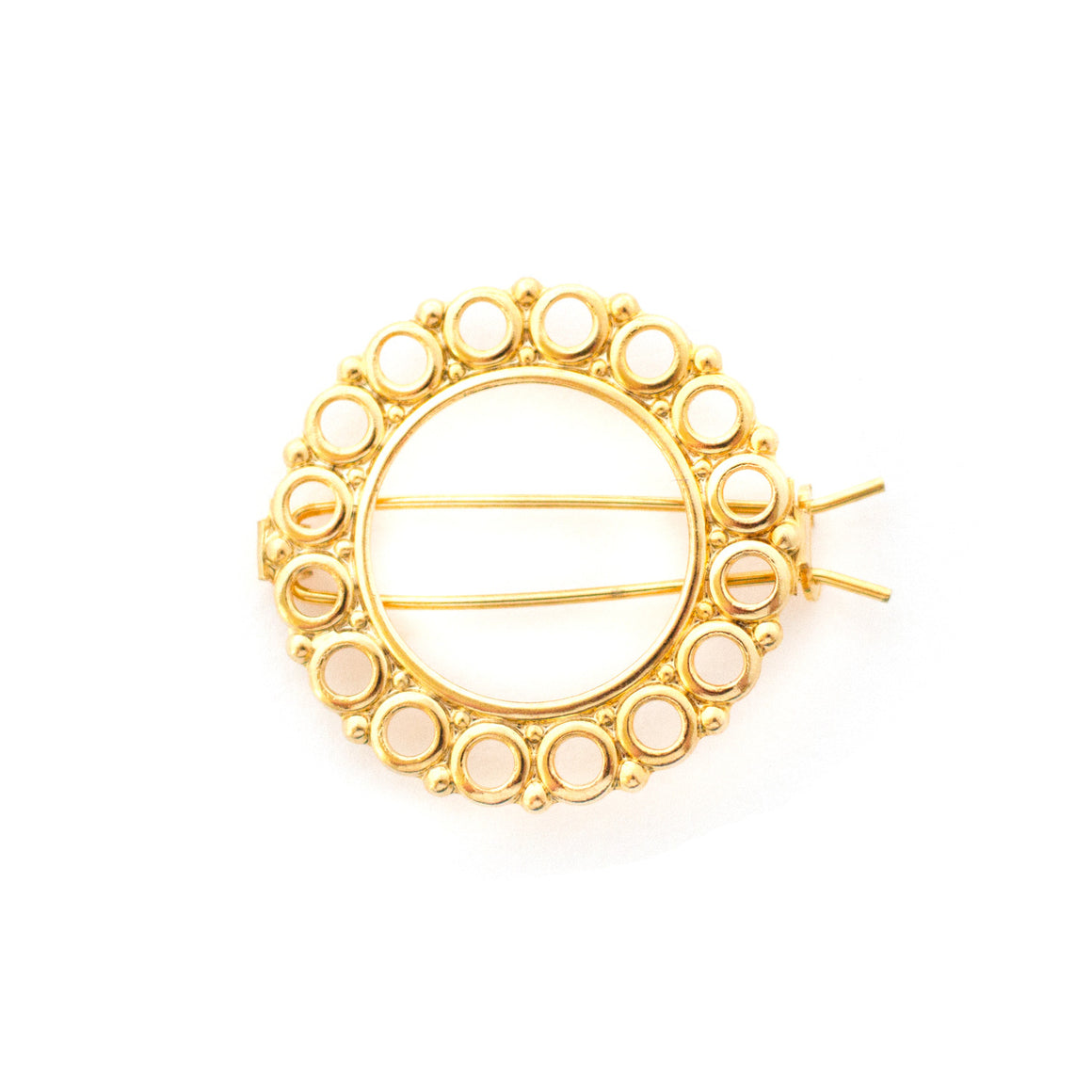 gold circle hair clip - barrette made in france - gold fill