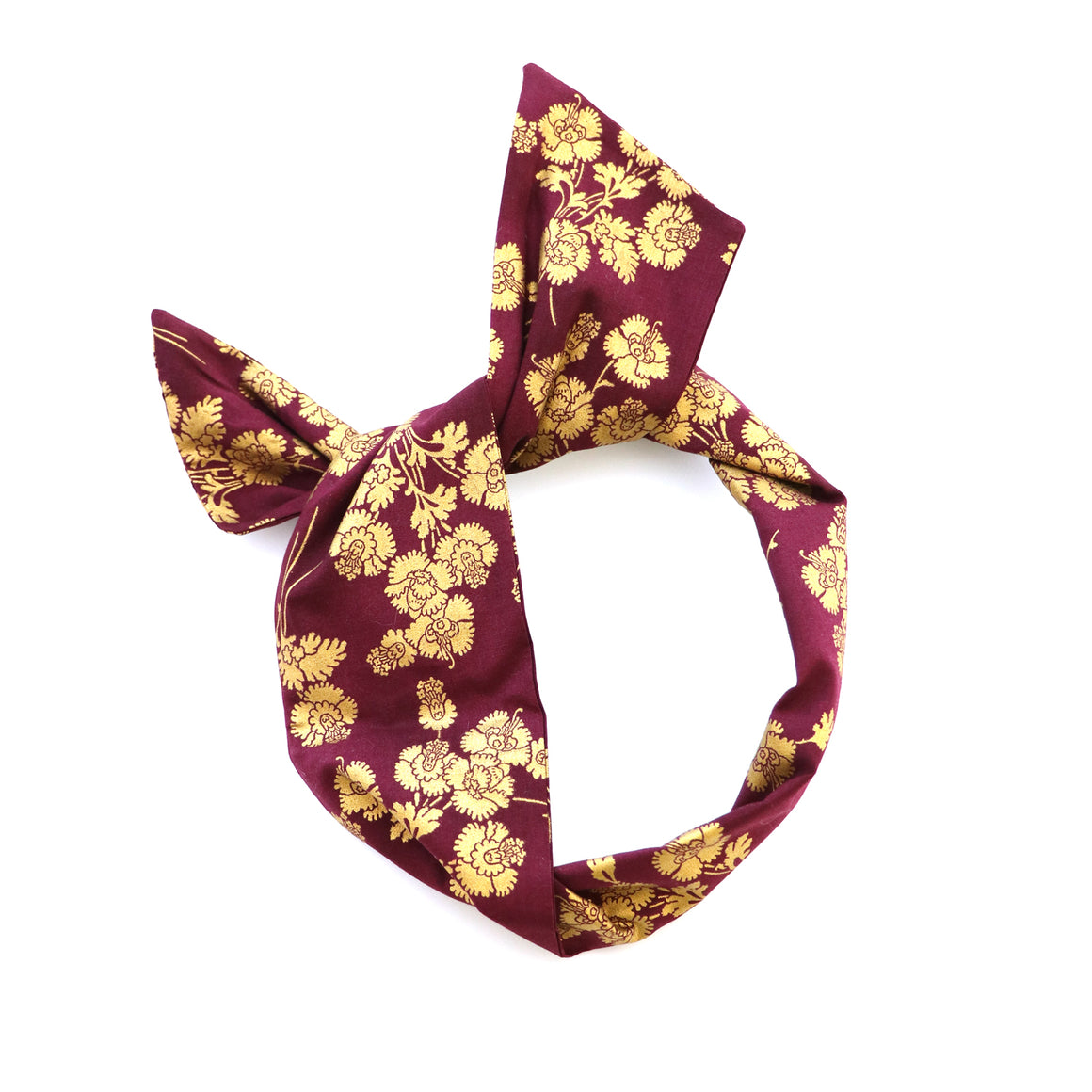 Burgundy and Gold Wire Headband