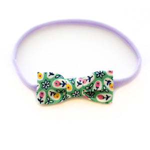 Green Floral Baby Bow Headband