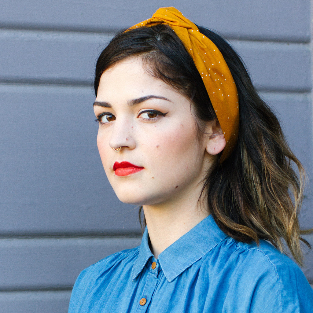 Mustard Dot Wire Headband