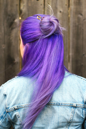 lavender hair with bun pin by mane message hair accessoires
