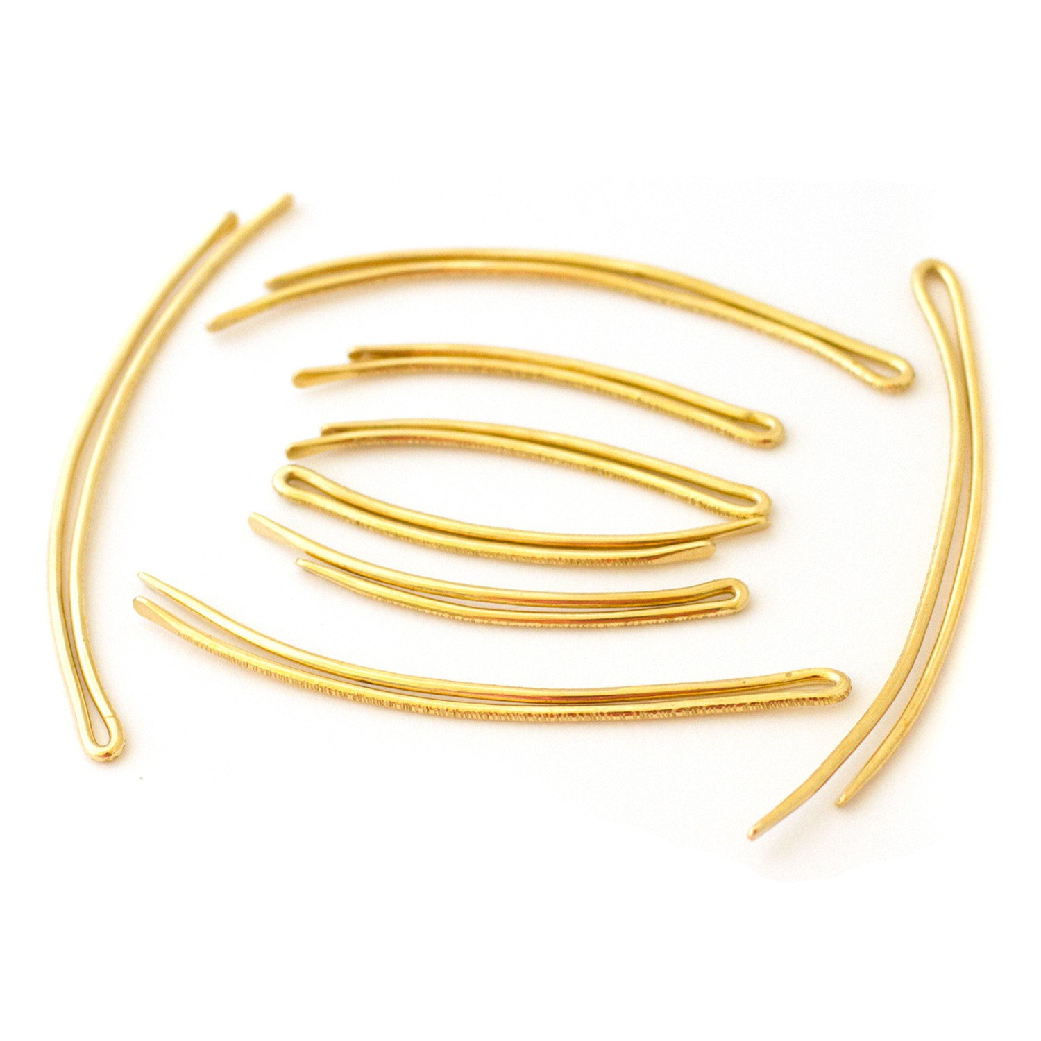 curved brass handmade bobby pins by mane message hair accessories