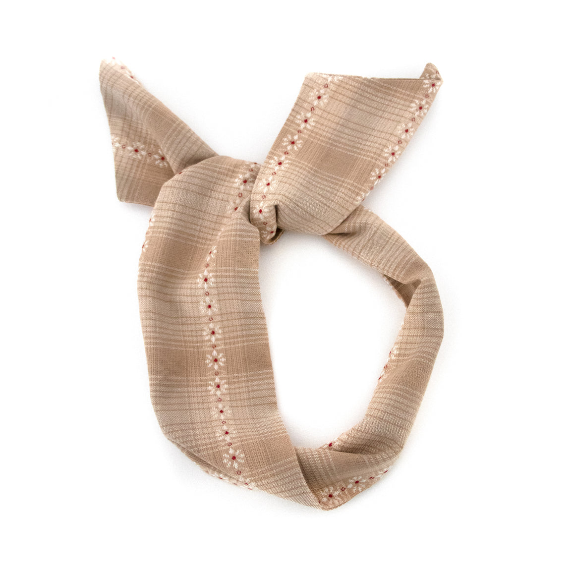 Tan Flower Motif Wire Headband
