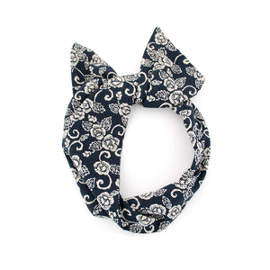 Navy Rose Wire Headband