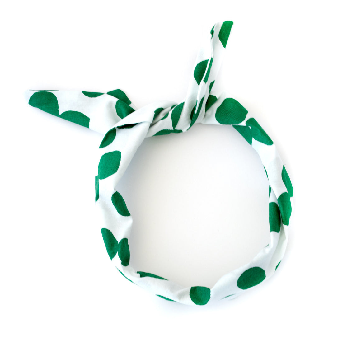 green polka dot wire headband. mod 1960s inspired head wrap