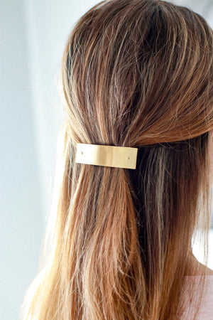 Medium Brass Bar Barrette by Mane Message