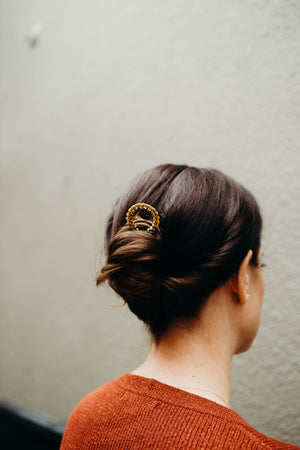 Beaded Brass Hair Pins