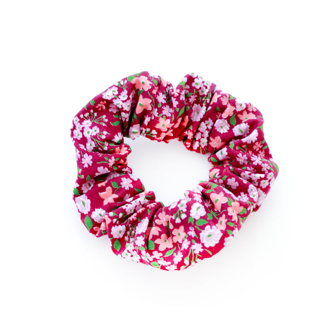plum floral scrunchie made out of vintage fabric from the 1950s