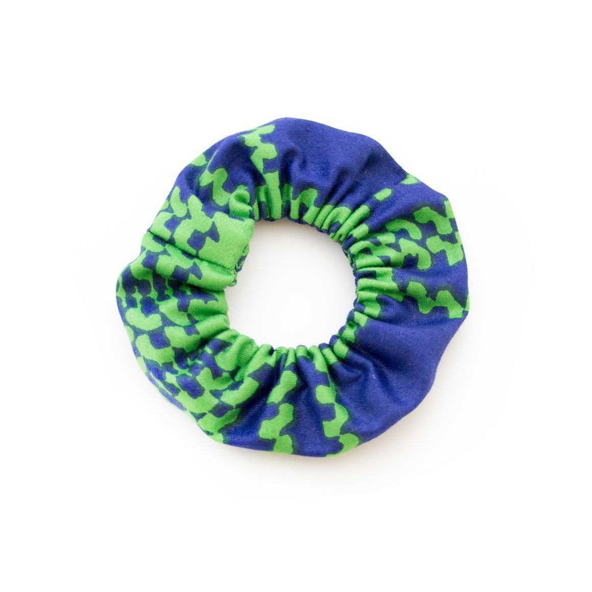 Green and Navy Houndstooth Scrunchie