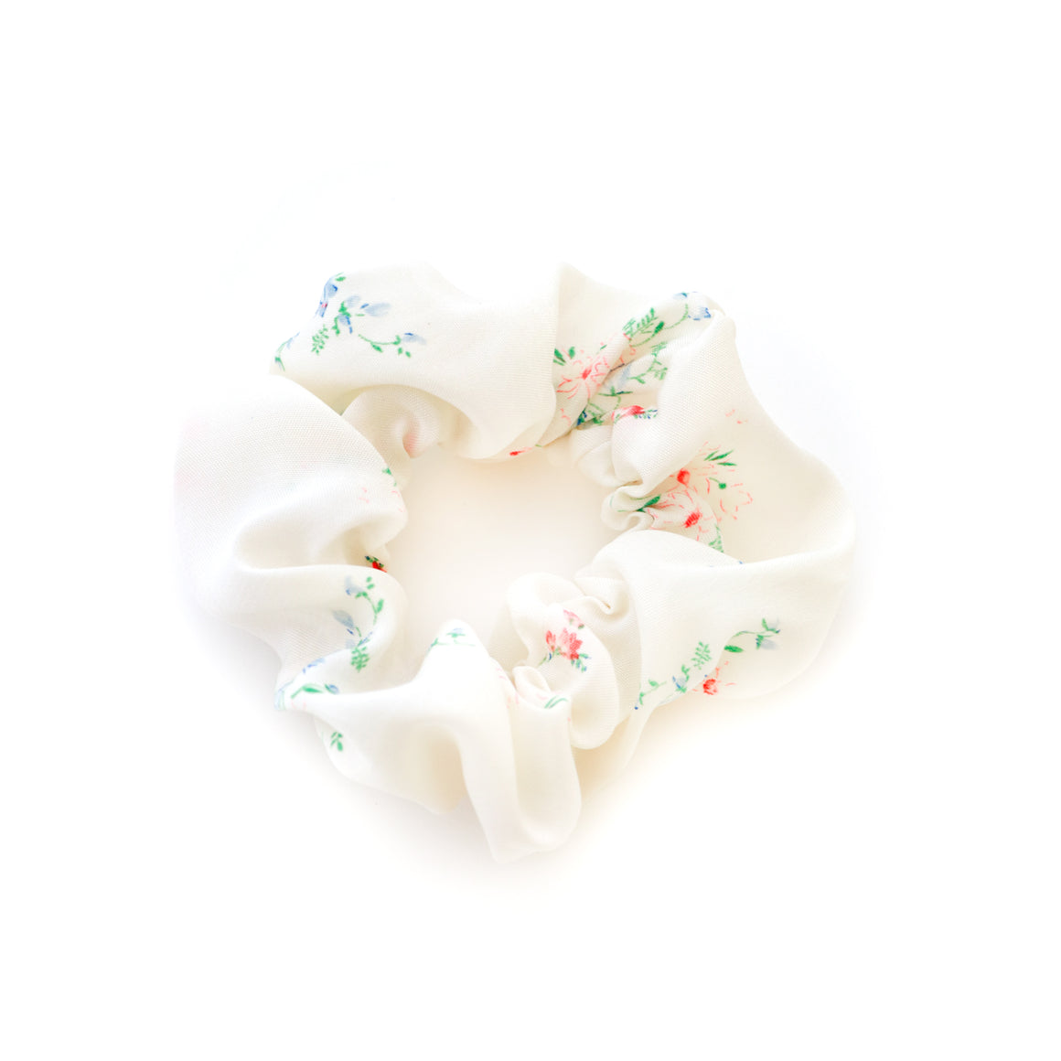 white floral scrunchie made out of vintage fabric from the 1940s