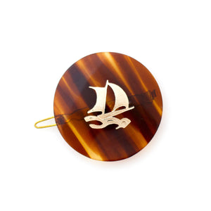 tortoise shell round sailboat vintage hair clip - made in france