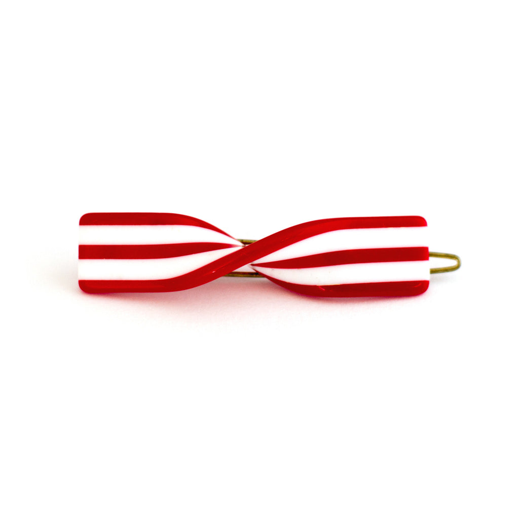 Vintage Candy Cane Twist Barrette