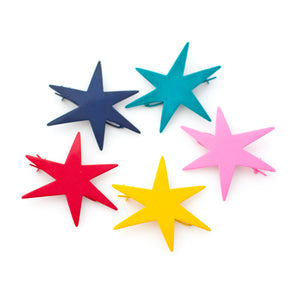 star shaped hair clips - vintage 1960s 1970s 1980s metal hair clips