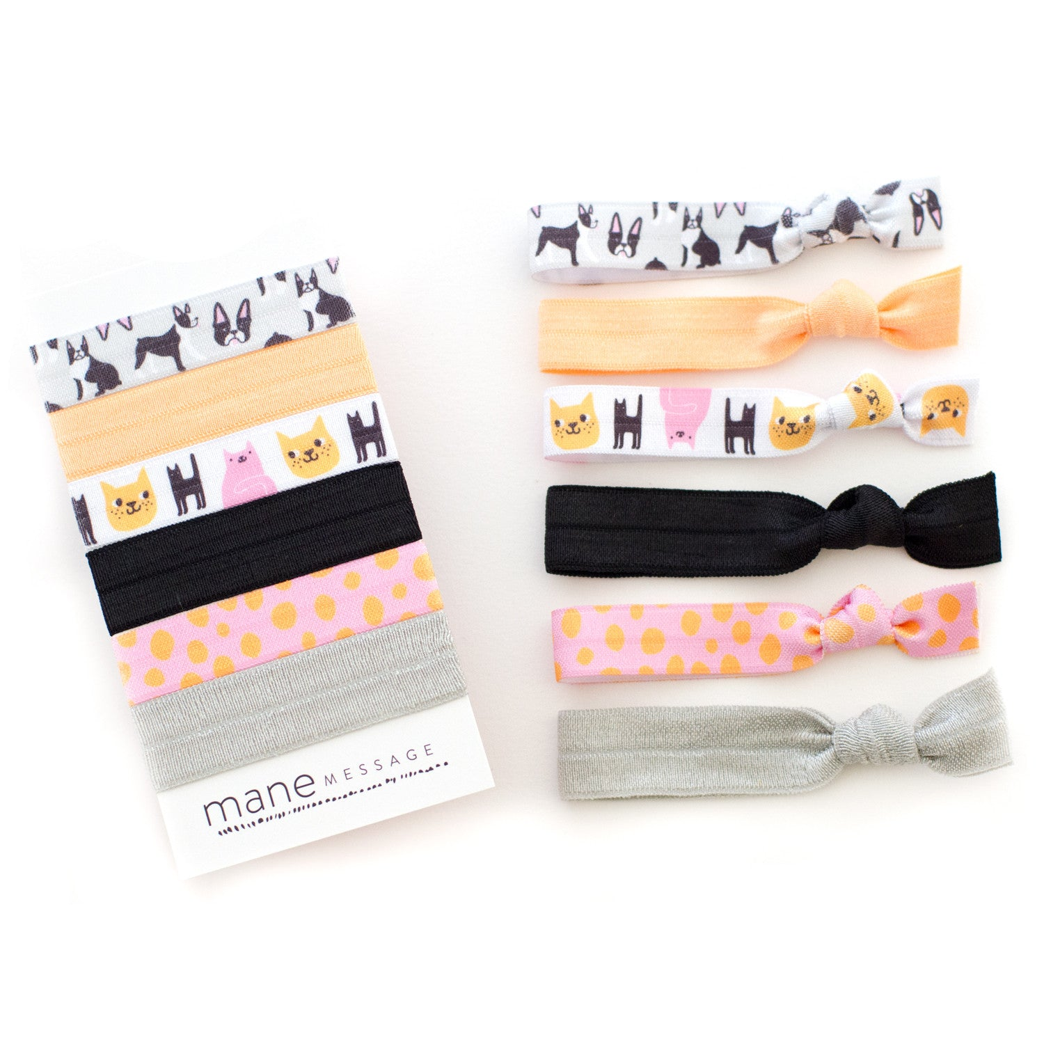 boston terrier dog cat hair tie package by mane message