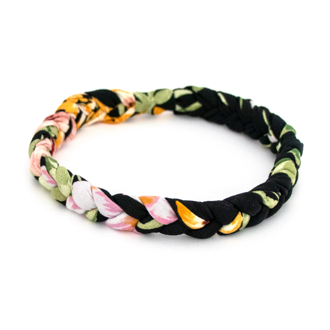 Black Floral Braided Workout Headband