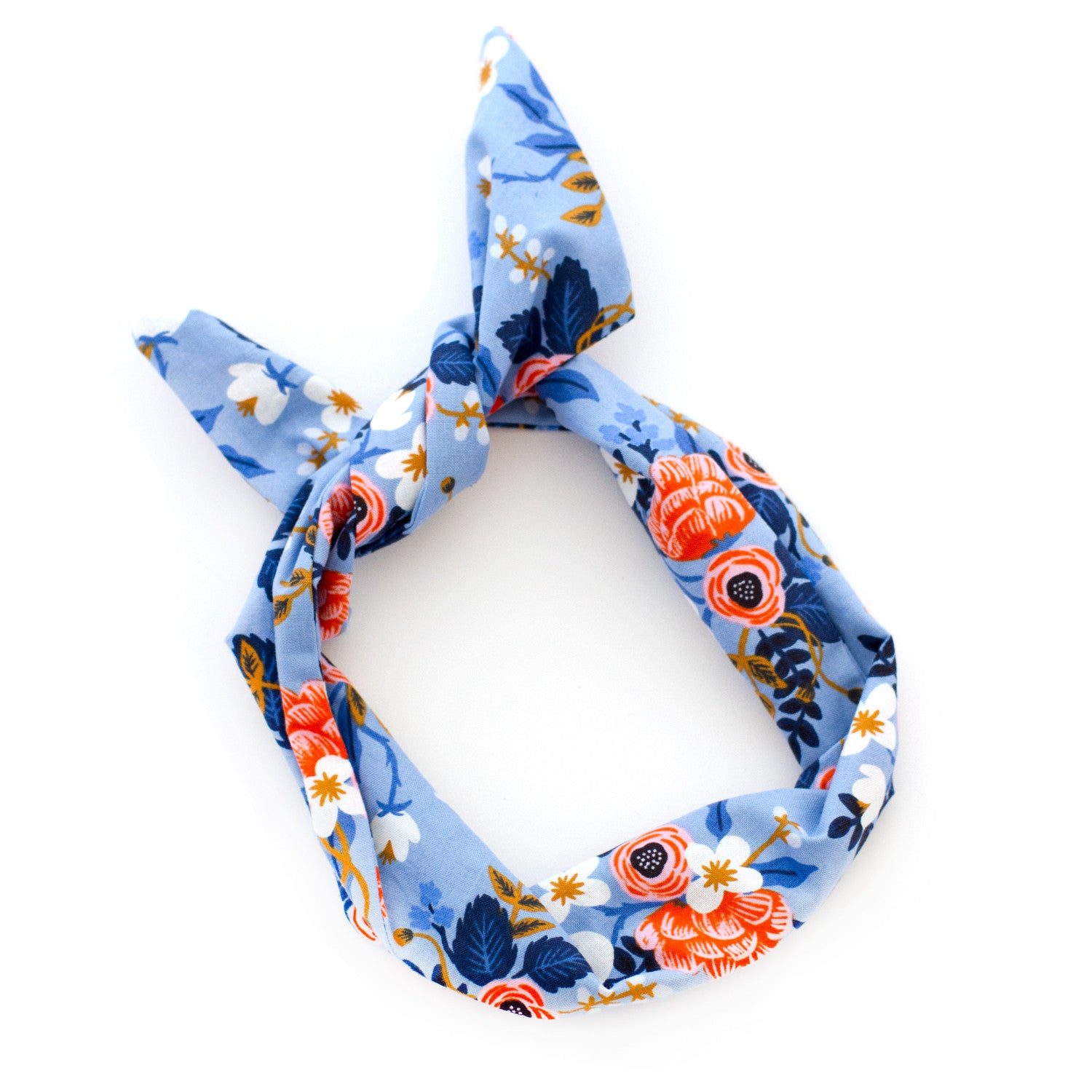 Blue Flower Print Wire Headband | Rifle Paper Co Fabric by Mane Message
