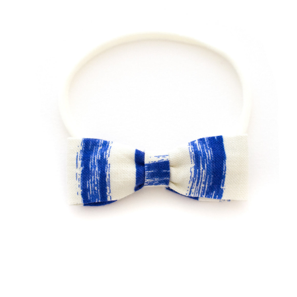 blue stripe baby headband by mane message created in the bay area