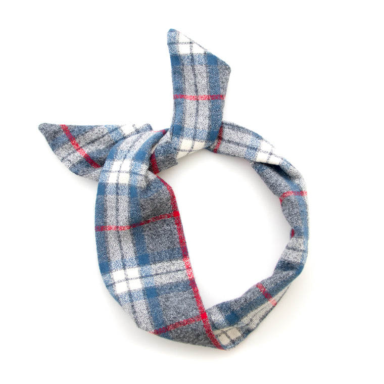 blue flannel wire headband