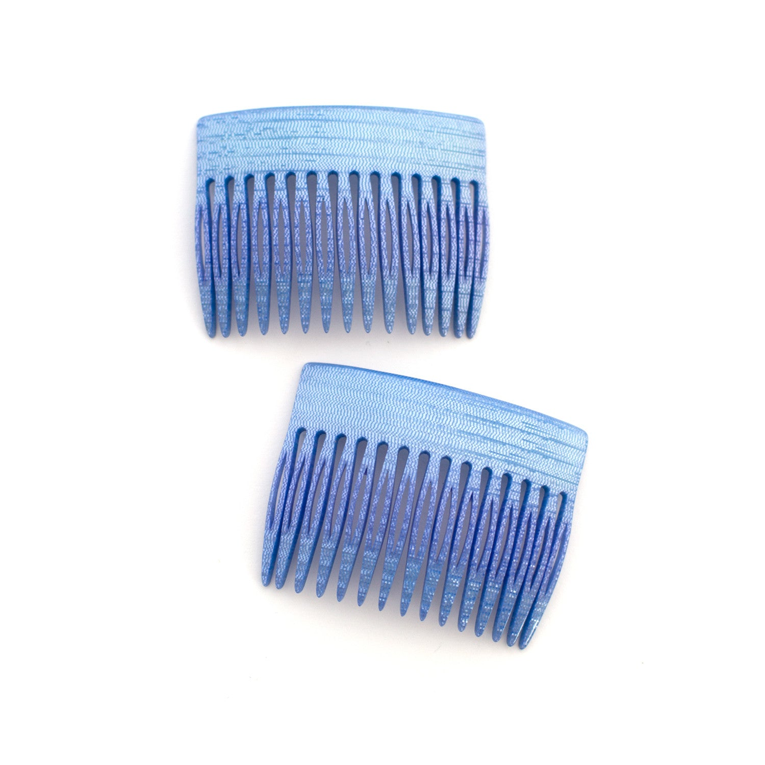 shimmery blue vintage combs made in france