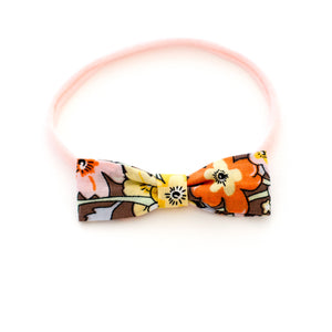 brown floral baby headband by mane message delicate small bow