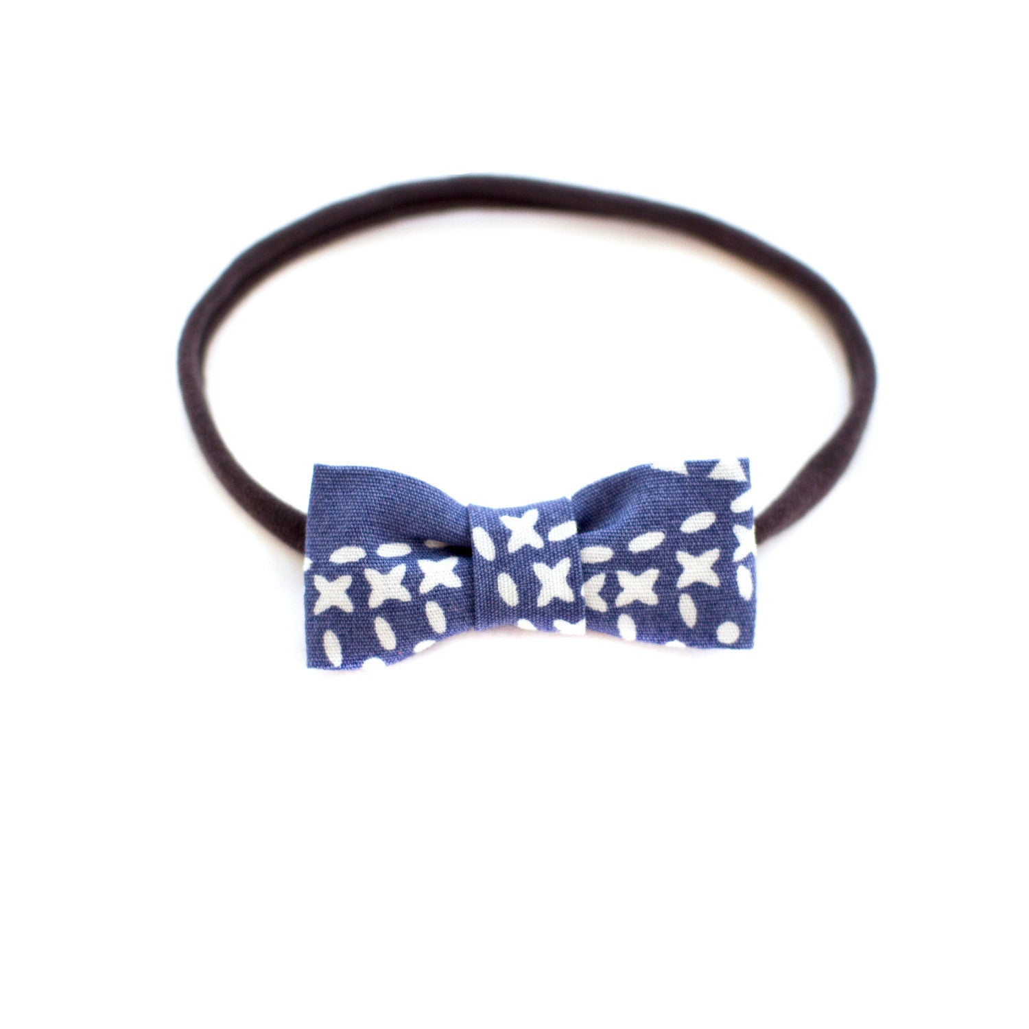 Chambray Dash Baby Bow Headband