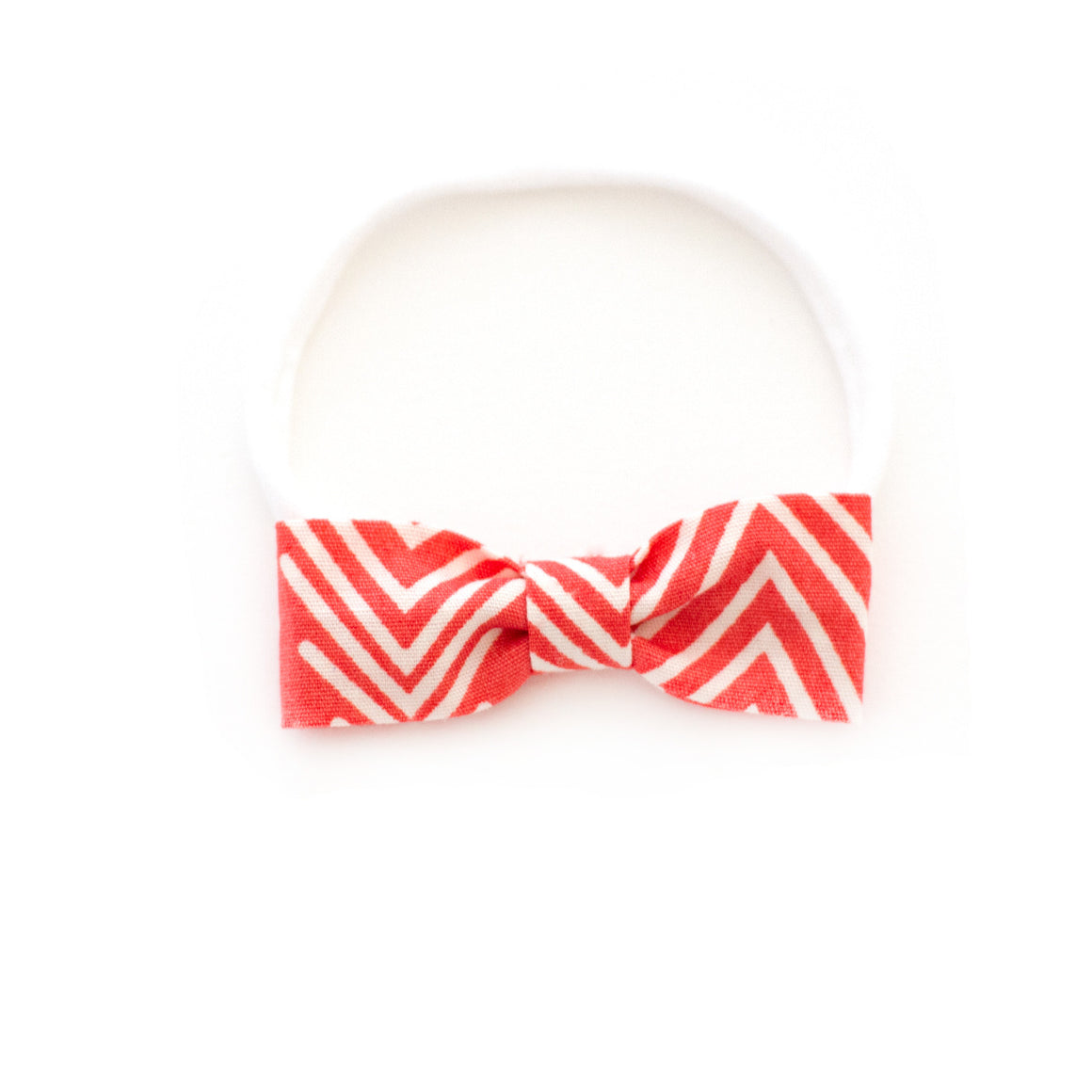 coral pink red stripe baby bow | small delicate not gaudy baby bow