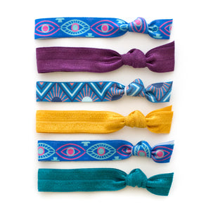 evil eye geometric art deco fall hair ties that double as bracelets