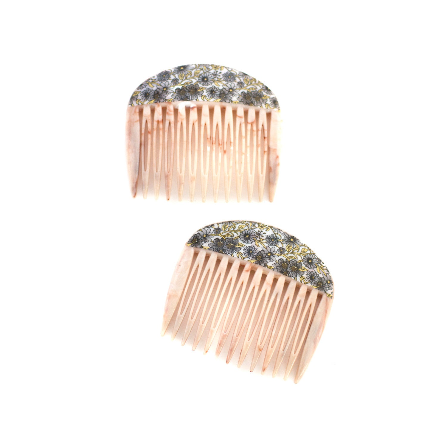 peach marbled vintage hair combs - made in france - rare - pin up beauty