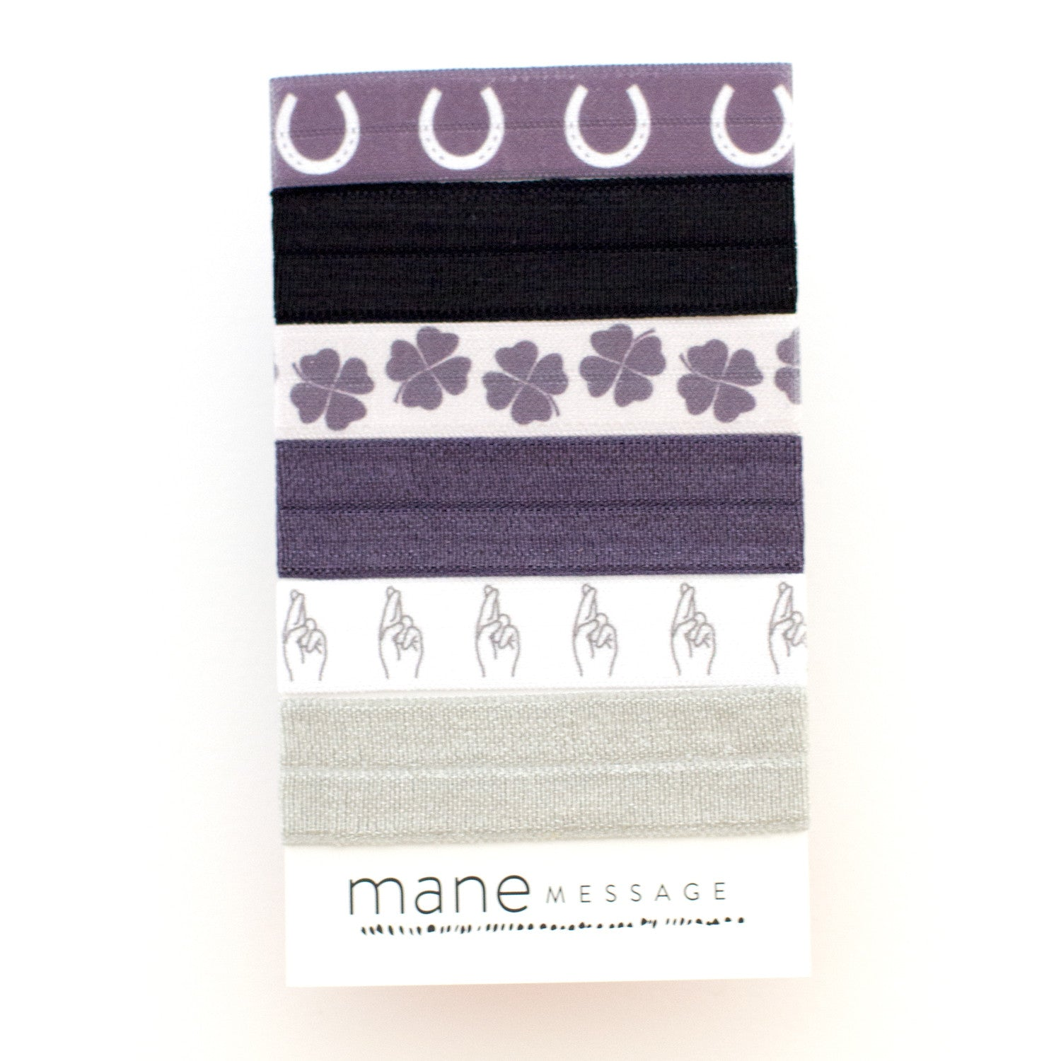horseshoes four leaf clovers fingers crossed good luck hair tie package by mane message and style stock