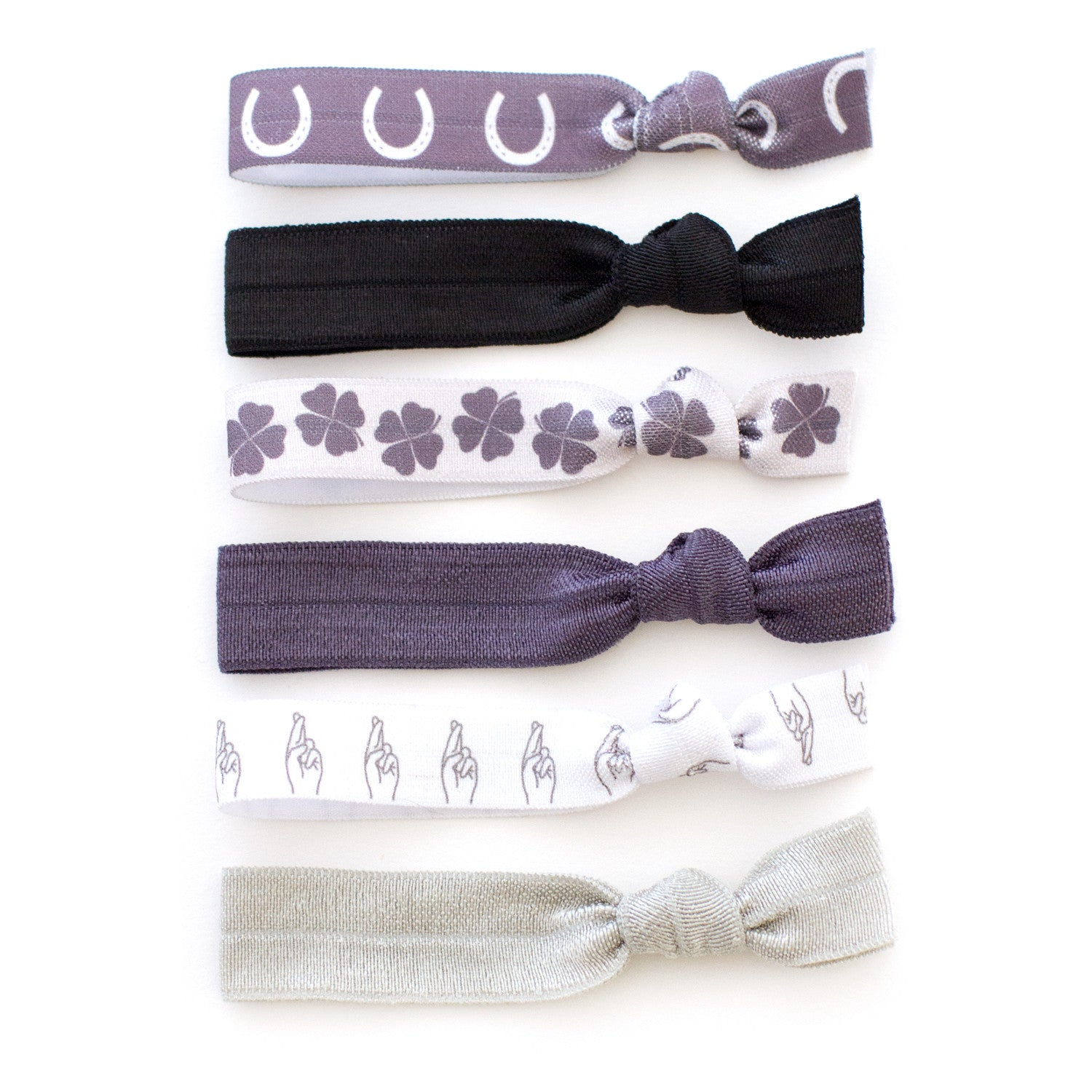good luck symbol hair tie package by mane message and style stock - horseshoe four leaf clover fingers crossed