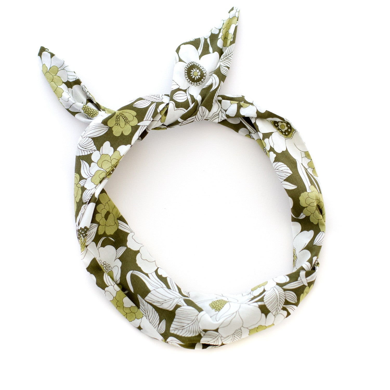 green floral mod print wire headband vintage inspired
