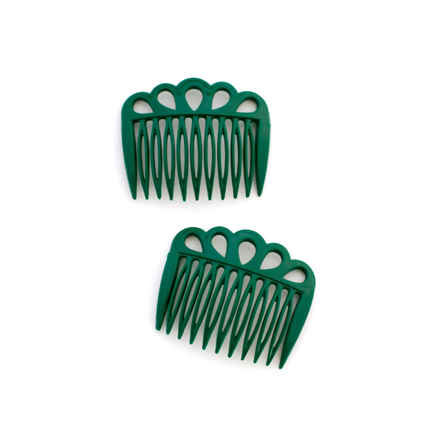 forest green cutout vintage hair combs