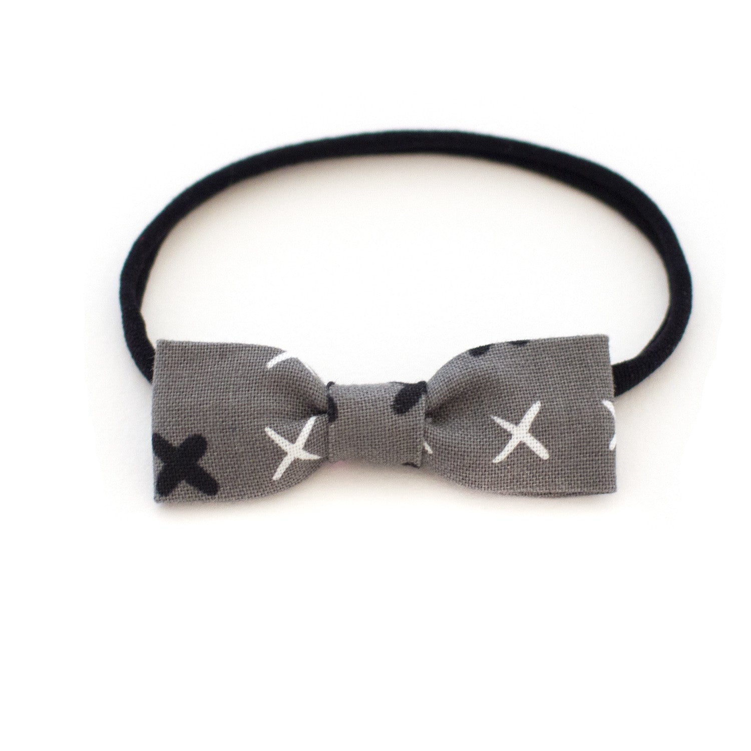 grey check baby headband