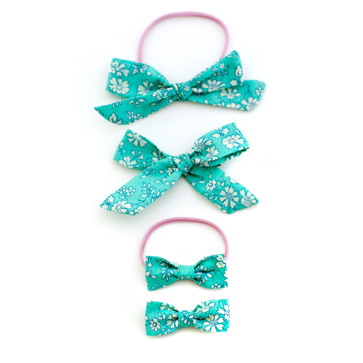 Mint Floral Liberty of London Baby Bows